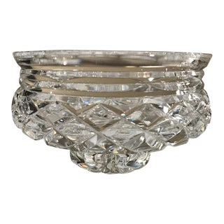 "Waterford ""Comeragh"" Crosswise-Cut Crystal Footed Bowl with 3-Ribbon Band Top For Sale"