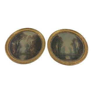 Round Hand-Tinted Steel Engravings of Lake and Trees - A Pair For Sale
