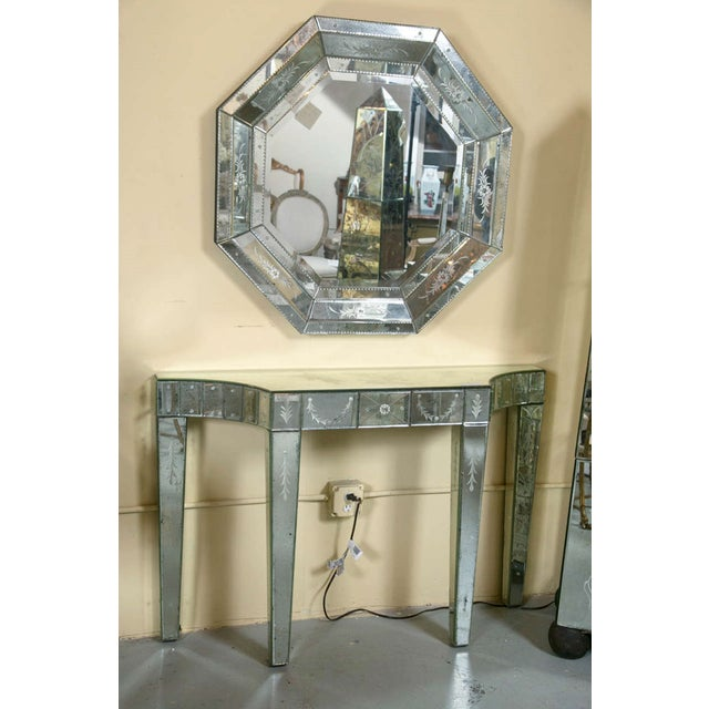 Etched Glass Mirrored Consoles - A Pair - Image 3 of 9