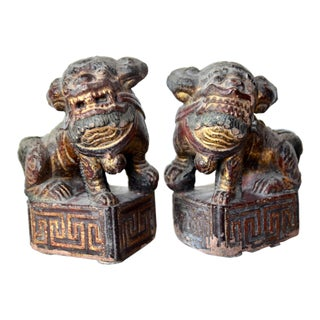 Antique Chinese Pair of Gilt Painted Stone Temple Foo Dogs For Sale