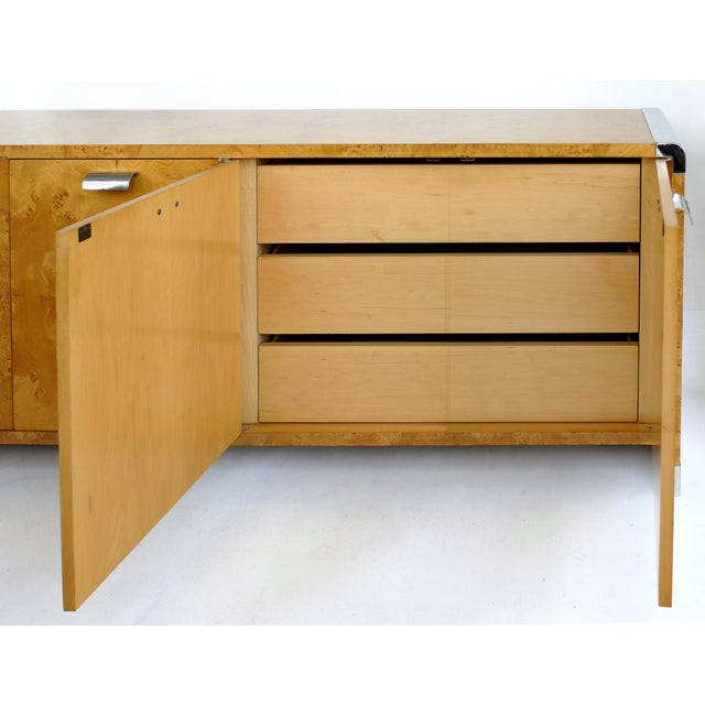 1980s Leon Rosen Pace Collection Burlwood Credenza With Stainless Steel Accents For Sale - Image 5 of 10