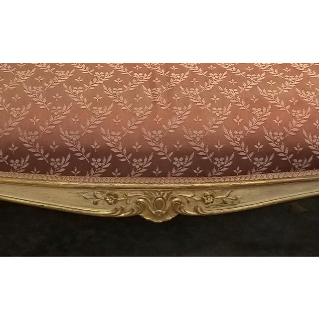 Vintage French Provincial Louis XVI Rose Settee Rococo Canape Loveseat For Sale - Image 9 of 11