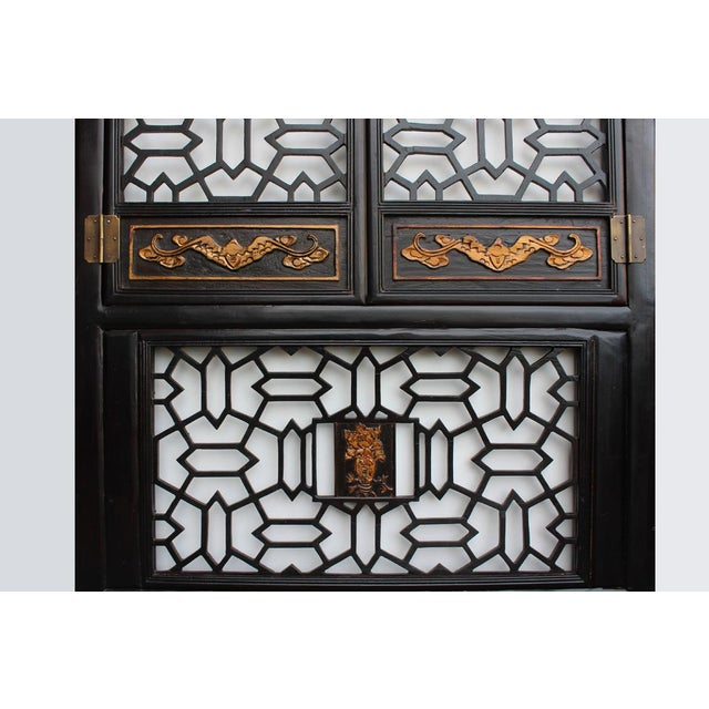 Asian Chinese Golden Floral Carving Wall Panel Screen For Sale - Image 3 of 6