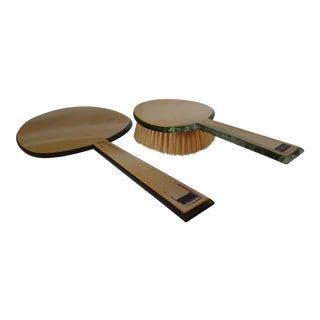 Art Deco Vanity Mirror & Brush - A Pair For Sale