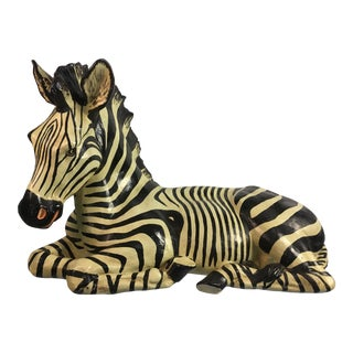 Vintage Regency Style Zebra Statue For Sale