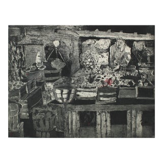 Monochromatic Abstracted Marketplace Scene Etching 1950-60s For Sale