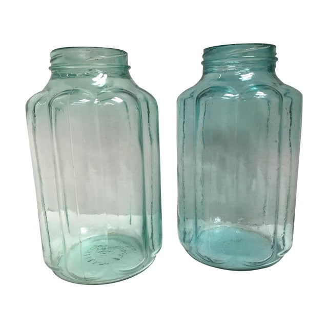 Vintage Blown Glass Fluted Pickling Jars - A Pair - Image 1 of 8