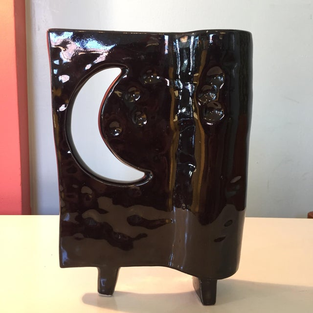 Asian Japanese Ikebana Glazed Black Ceramic Pottery For Sale - Image 3 of 8
