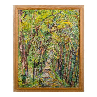 """Mid 20th Century """"Allee"""" Expressionist Style Forest Landscape Oil Painting by Elisabeth Merlicek, Framed For Sale"""
