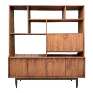Mid Century Free Standing Wall Unit For Sale