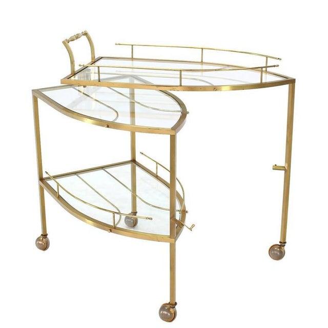 Unusual Iron Shape Folding Brass Tea Cart For Sale - Image 9 of 10