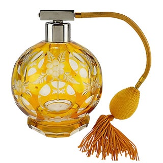Antique Amber Cut to Clear Glass Perfume