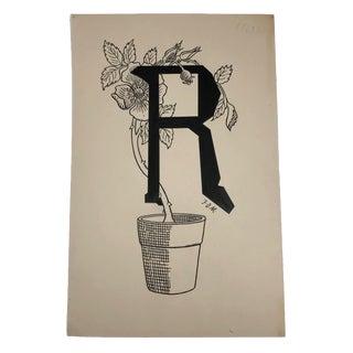 R for Rose Original Alphabet Ink Drawing For Sale