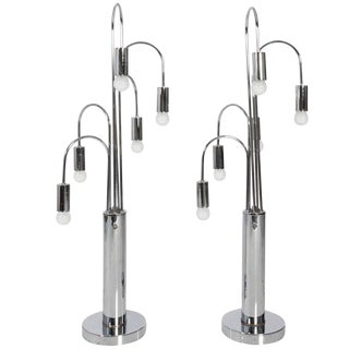 Mid-Century Modern Chrome Table Lamps - a Pair For Sale