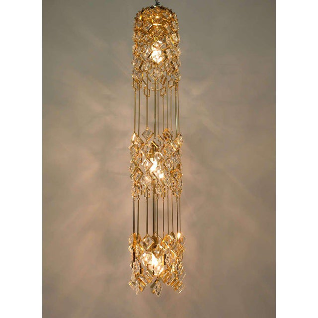 Mid-Century Modern Golden Brass and Crystal Column Chandelier Lamp by Palwa, 1960 For Sale - Image 3 of 9
