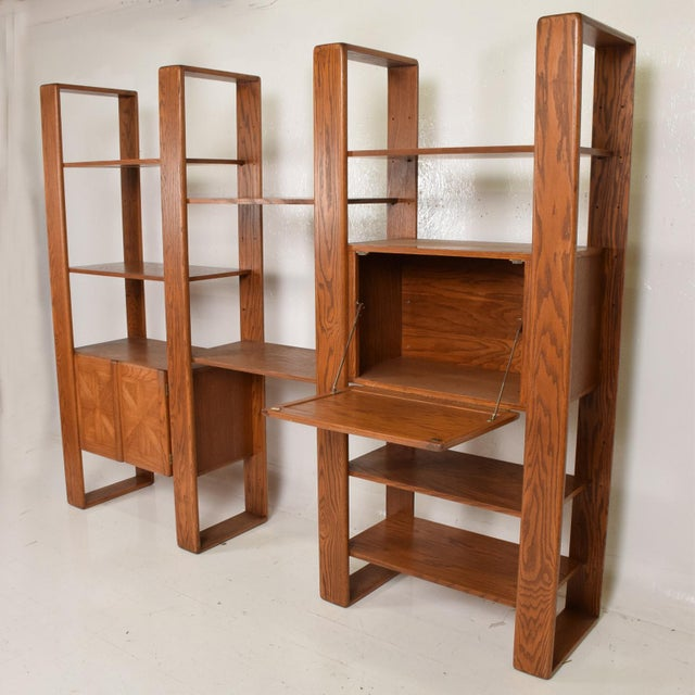 Wood Mid Century Modern Solid Oak Wood Wall Unit by Lou Hodges For Sale - Image 7 of 11