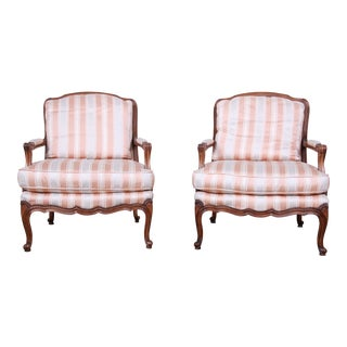 Baker Furniture French Provincial Louis XV Style Bergere Chairs, Pair For Sale