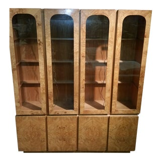 Lane Burl Wood China Cabinet For Sale