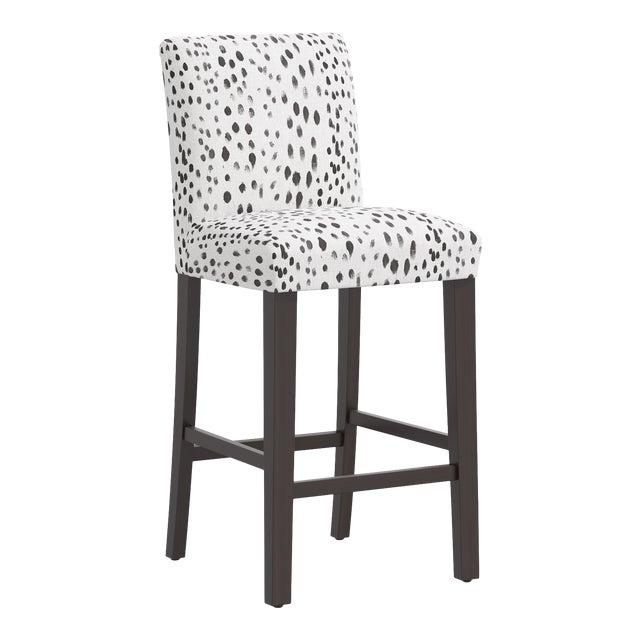 Bar stool in Linen Leopard Ink For Sale