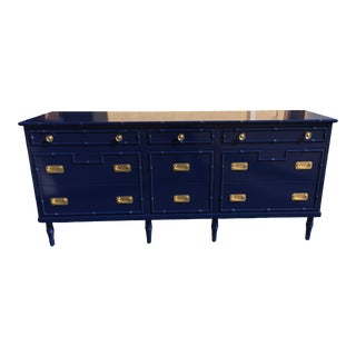 1970s Vintage Chinoiserie Faux Bamboo 9-Drawer Dresser For Sale
