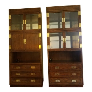 Vintage Henredon Scene One Bar and Display Storage Wall Units - a Pair For Sale