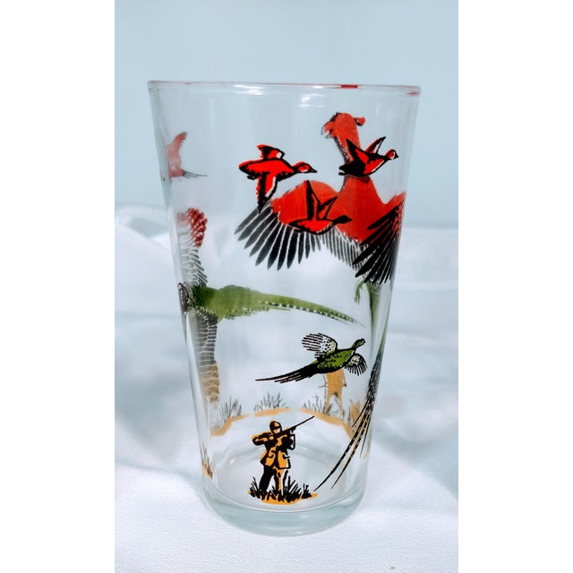 Hazel Atlas MCM Barware pheasant Hunting glasses. Mid century graphics featuring pheasants flying, setter hunting dog and...