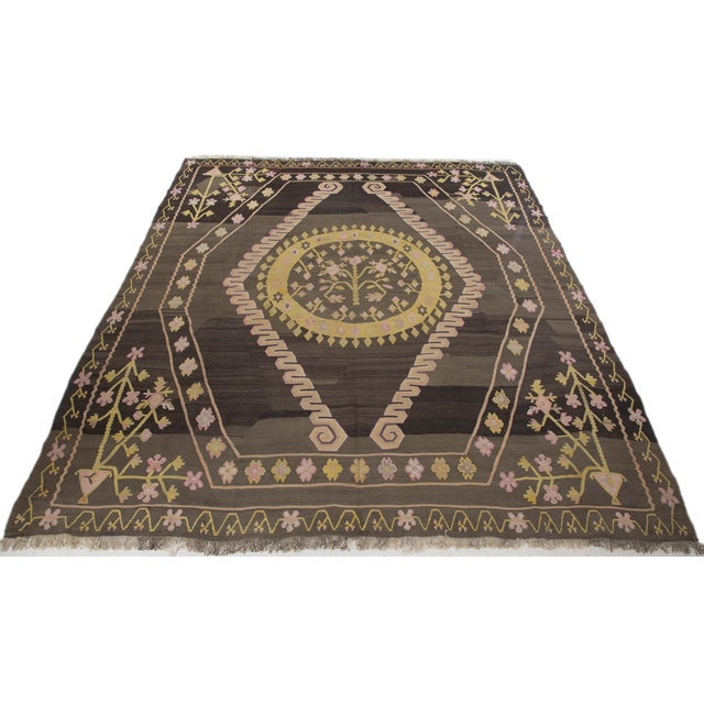 Turkish Primitive Large Kilim Rug - 9′7″ × 10′5″ - Image 4 of 10