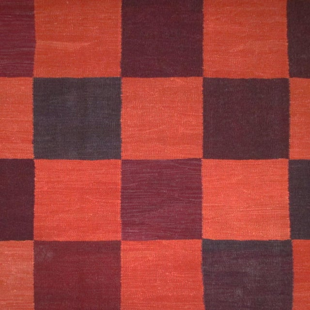 Contemporary Rug & Relic Coral Check Turkish Kilim Flatweave   For Sale - Image 3 of 4
