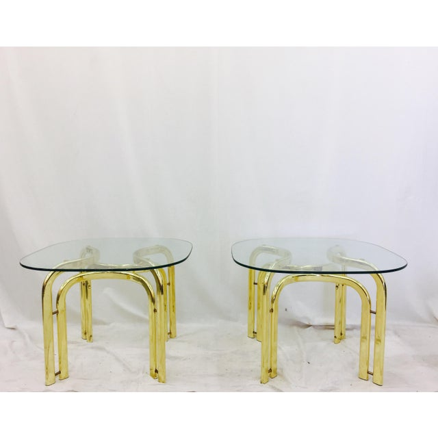 Modern Brass Side Tables - A Pair For Sale - Image 4 of 11
