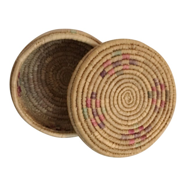 Vintage Boho Chic Hand Woven Basket - Image 1 of 7