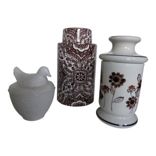 Chocolate Brown & White Accent Jars - Set of 3