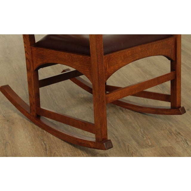 Wood Stickley Mission Collection Harvey Ellis Rocker with Inlay For Sale - Image 7 of 13