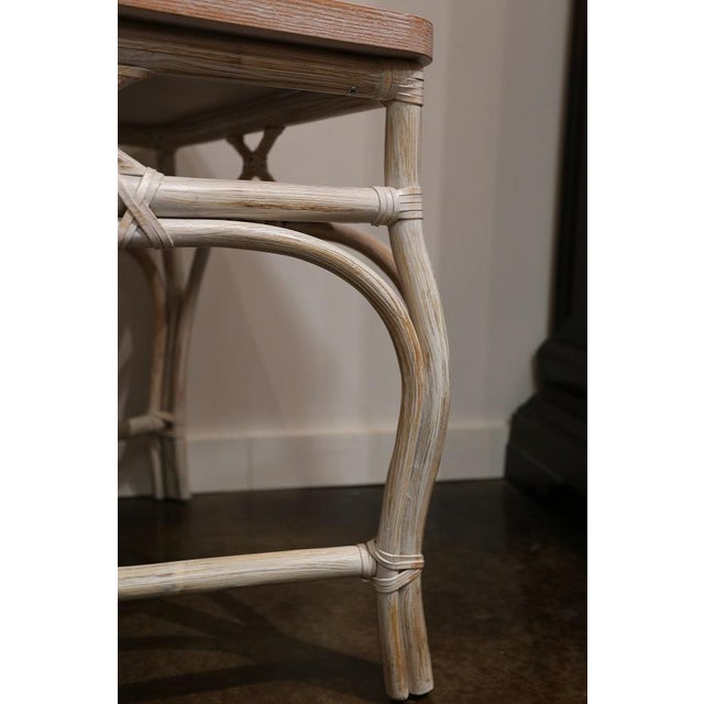 White White-Wash Finish Rattan Occasional Table For Sale - Image 8 of 11