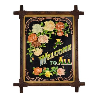 Victorian Era Motto Chromolithograph a Welcome to All in Adirondack Wood Frame For Sale