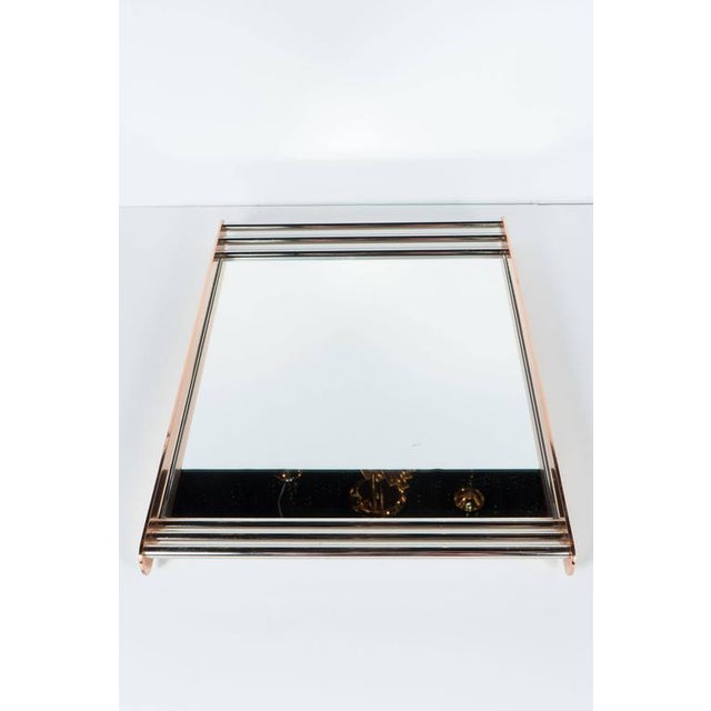 Art Deco Machine Age Skyscraper Style Mirrored Tray with Copper and Chrome For Sale - Image 4 of 11