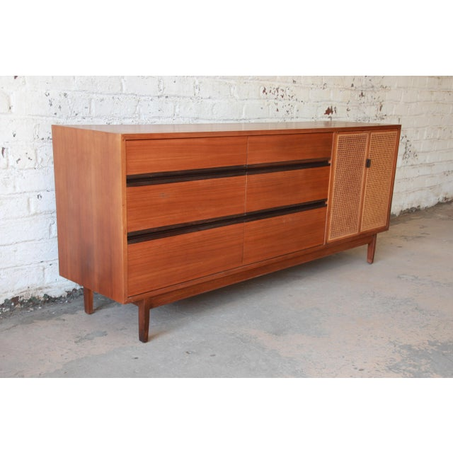 Contemporary Kipp Stewart for Calvin Mid-Century Modern Walnut and Cane Dresser or Credenza For Sale - Image 3 of 13