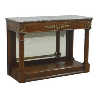 Henredon Walnut Empire Mirrored Console For Sale