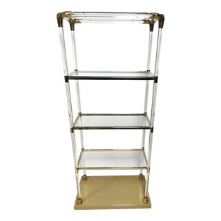 Charles Hollis Jones Style Rare Lucite and Brass Etagere With Snake Accents For Sale