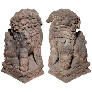 Late Ming Dynasty Antique Stone Lions From China, Circa 16th-17th Century For Sale
