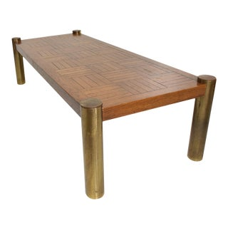 Mid-Century Modern Oak and Brass Coffee Table by Lane For Sale