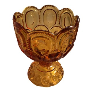 1990s Amber Vintage Moon & Stars Glass Compote For Sale
