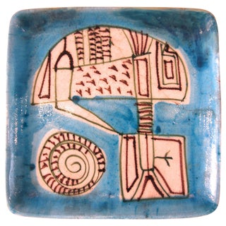 Guido Gambone, Polychrome Earthenware Plate, Signed, Circa 1960, Italy