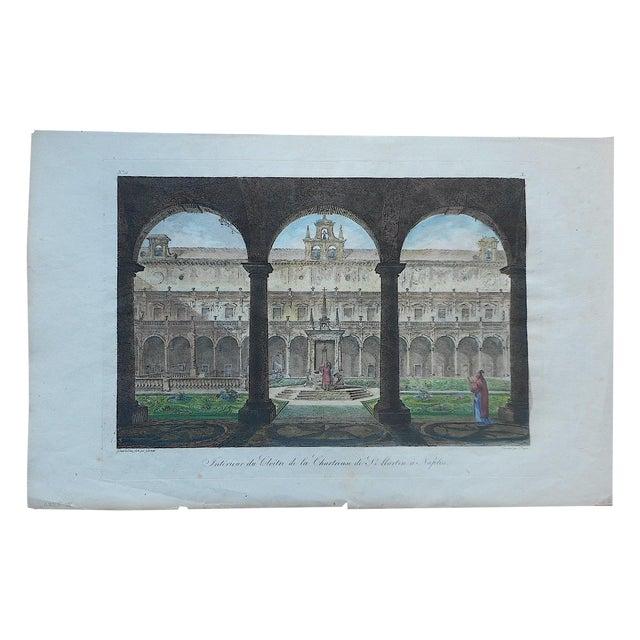 Antique Folio Cloister in Naples, Italy Print - Image 1 of 3