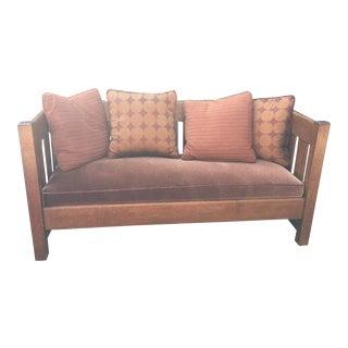 Arts & Crafts 1900's Phoenix Furniture Company Oak & Velvet Settle For Sale
