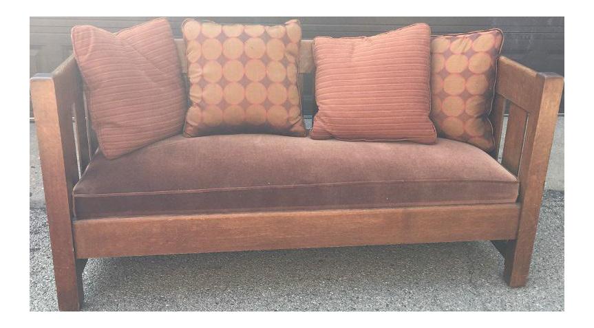 Authentic Phoenix Furniture Company Oak U0026 Velvet Settle   Image 1 Of 11
