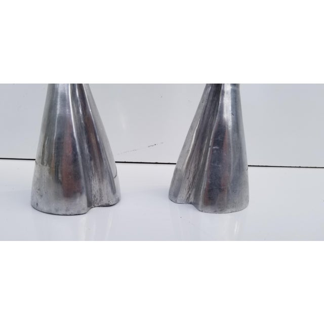 1970s Hollywood Regency Heavy Aluminum Candle Holders - a Pair For Sale - Image 4 of 7