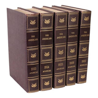 The Americana Encyclopedia Vintage Brown & Gold Leatherbound Books - Set of 5 For Sale