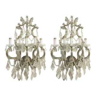 Antique Crystal Wall Sconces of Venetian Glass - A Pair For Sale