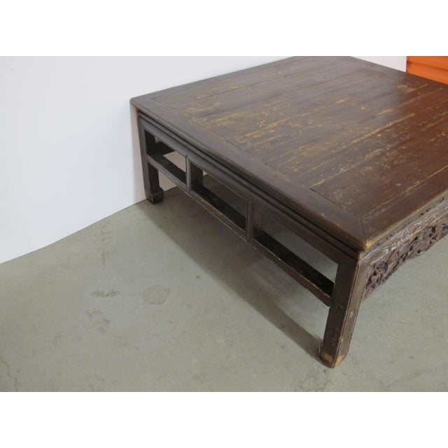 1900s Antique Asian Chinese Solid Wood Coffee Tea Table For Sale - Image 5 of 11