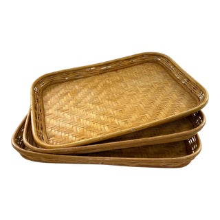 1960s Bamboo Trays - Set of 3 For Sale